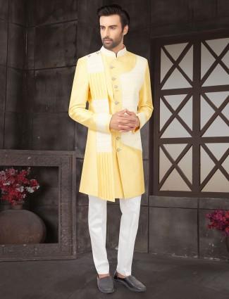 Yellow lakhnavi thread work raw silk indo western