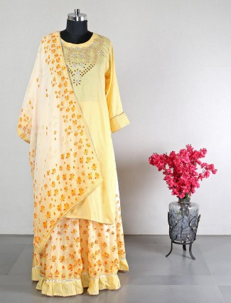 Yellow lehenga style salwar suit for women