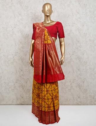 Yellow patola silk saree for wedding session