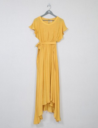 Yellow poly cotton party wear dress