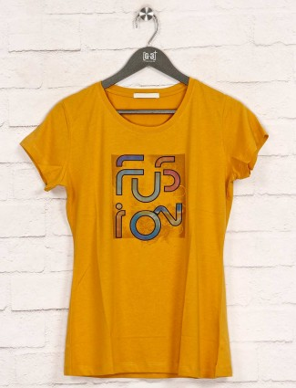 Yellow printed casual wear cotton top