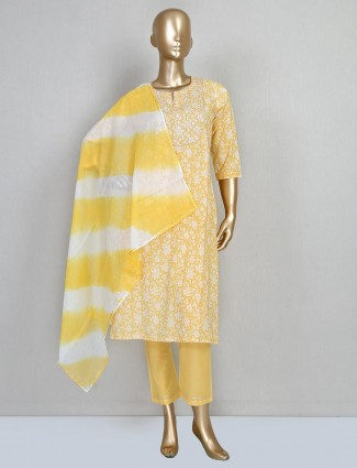 Yellow printed cotton salwar suit for festive