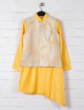 Yellow printed cotton silk boys waistcoat set