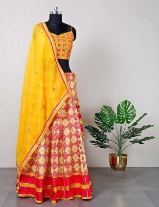 Yellow printed raw silk lehenga for wedding