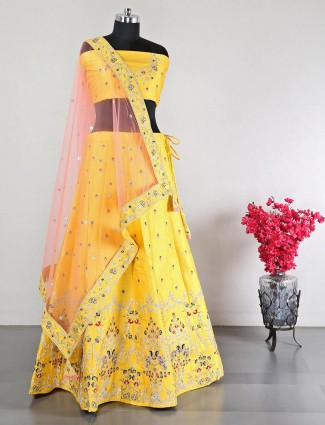 Yellow raw silk wedding unstitched lehenga choli