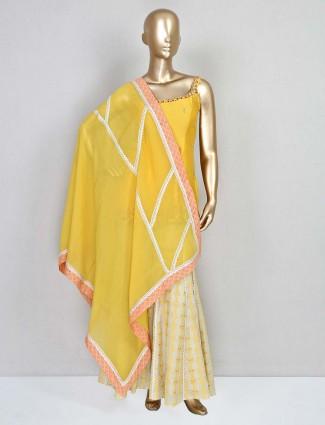 Yellow sharara suit in silk