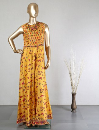 Yellow silk jumpsuit for festive wear