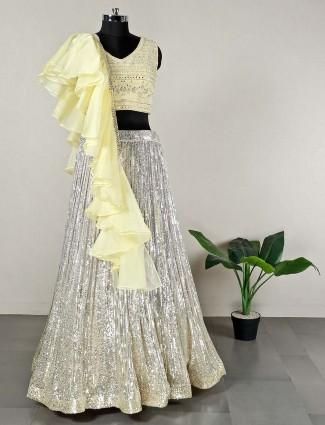 Yellow silk lehenga choli for feminism
