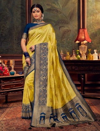 Yellow silk saree for wedding event