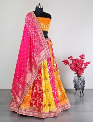 Yellow silk semi stitched lehenga choli for wedding days