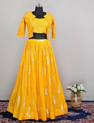 Yellow silk wedding wear lehenga choli for women