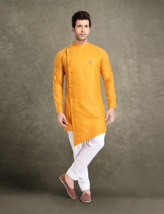 Yellow solid cotton jacquard festive kurta suit