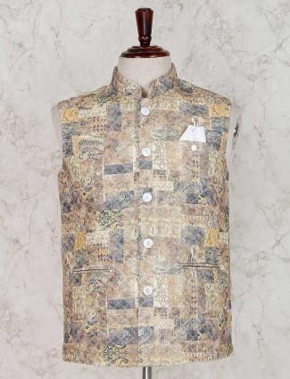 Yellow terry rayon printed waistcoat