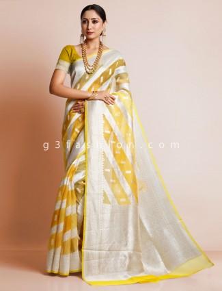 Yellow wedding wear organza silk saree