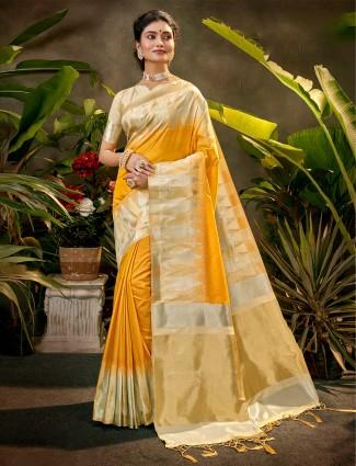 Yellow zari emebellish silk saree for party