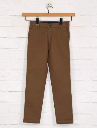 Zillian brown boys cotton trouser casual wear