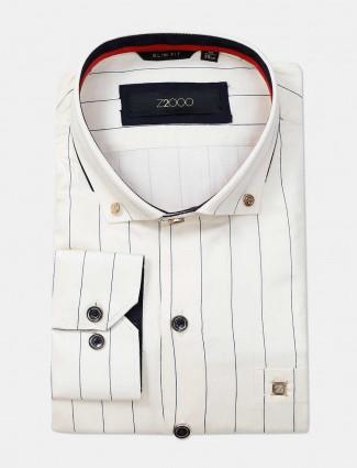 Zillian cream formal shirt for mens in stripe patern