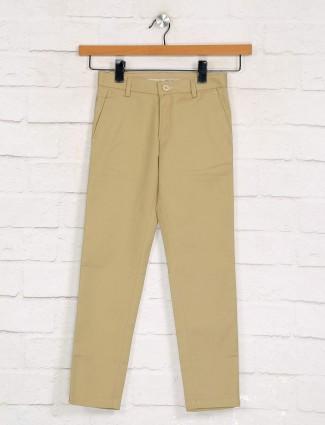 Zillian solid khaki slim fit boys cotton trouser