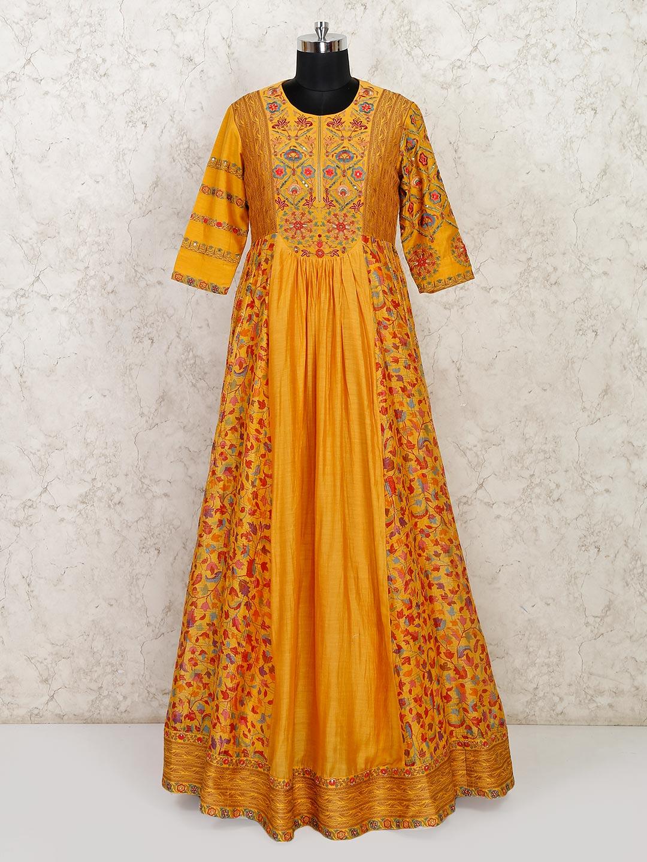 Mustard anarkali suit in cotton for wedding?imgeng=w_400