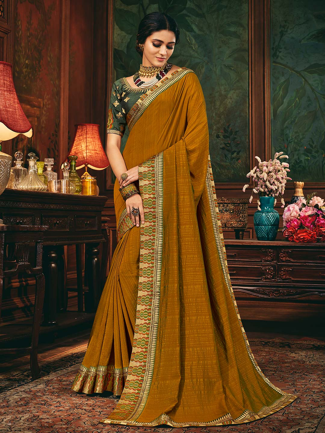 Mustard raw silk saree for party session?imgeng=w_400