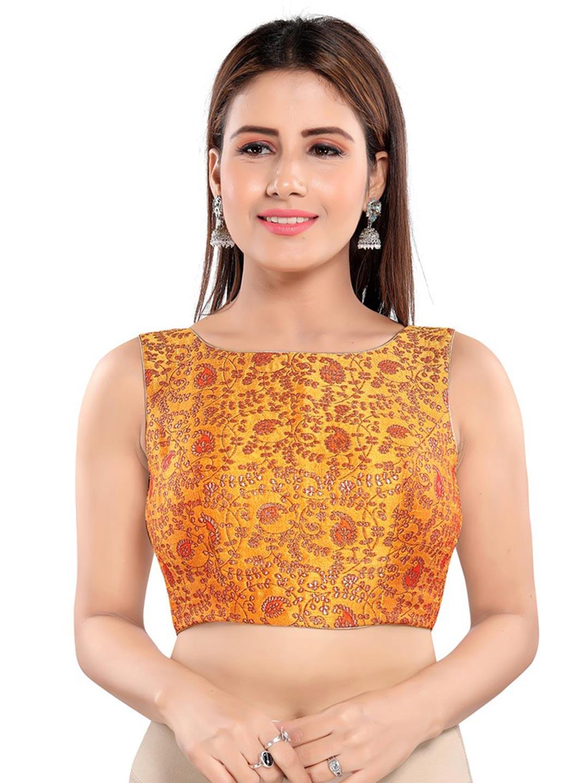Mustard yellow brocade readymade blouse in raw silk?imgeng=w_400
