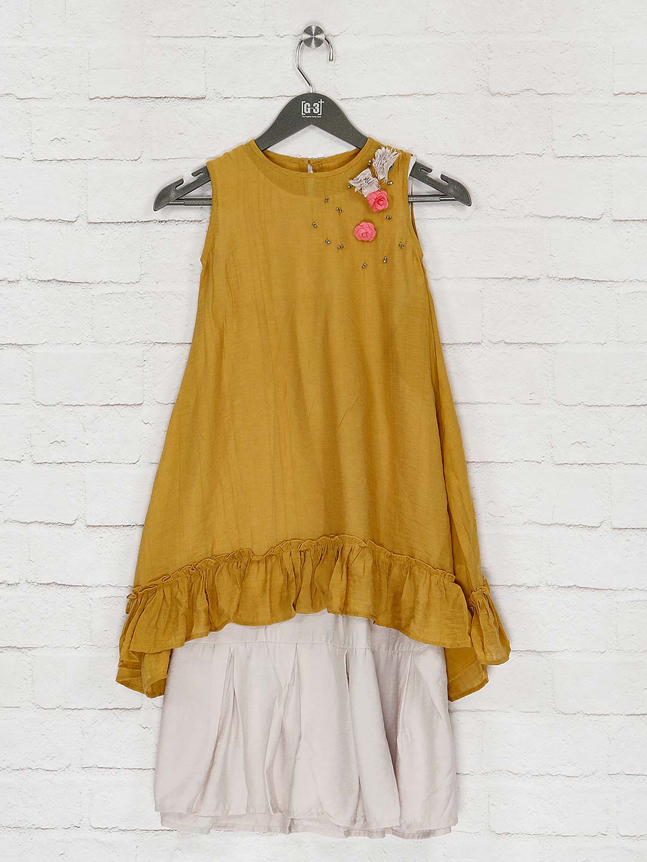 Mustard yellow casual wear cotton kurti?imgeng=w_400