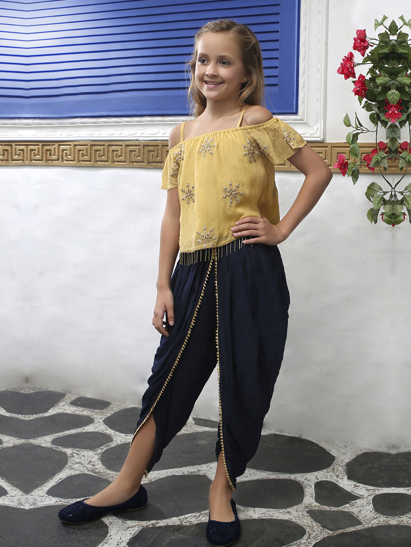 Mustard yellow chiffon fabric designer dhoti suit?imgeng=w_400