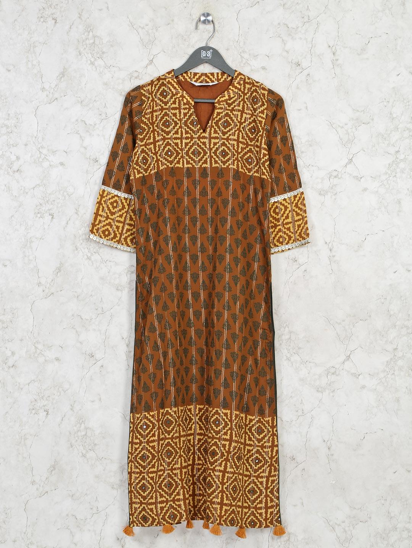 Mustard yellow cotton casual wear kurti?imgeng=w_400