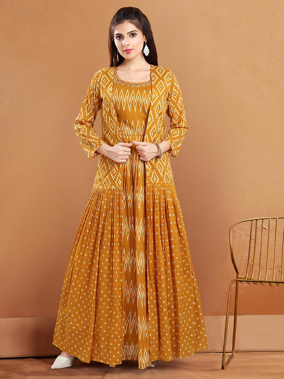 Mustard yellow cotton jacket style suits for festive occasions?imgeng=w_400