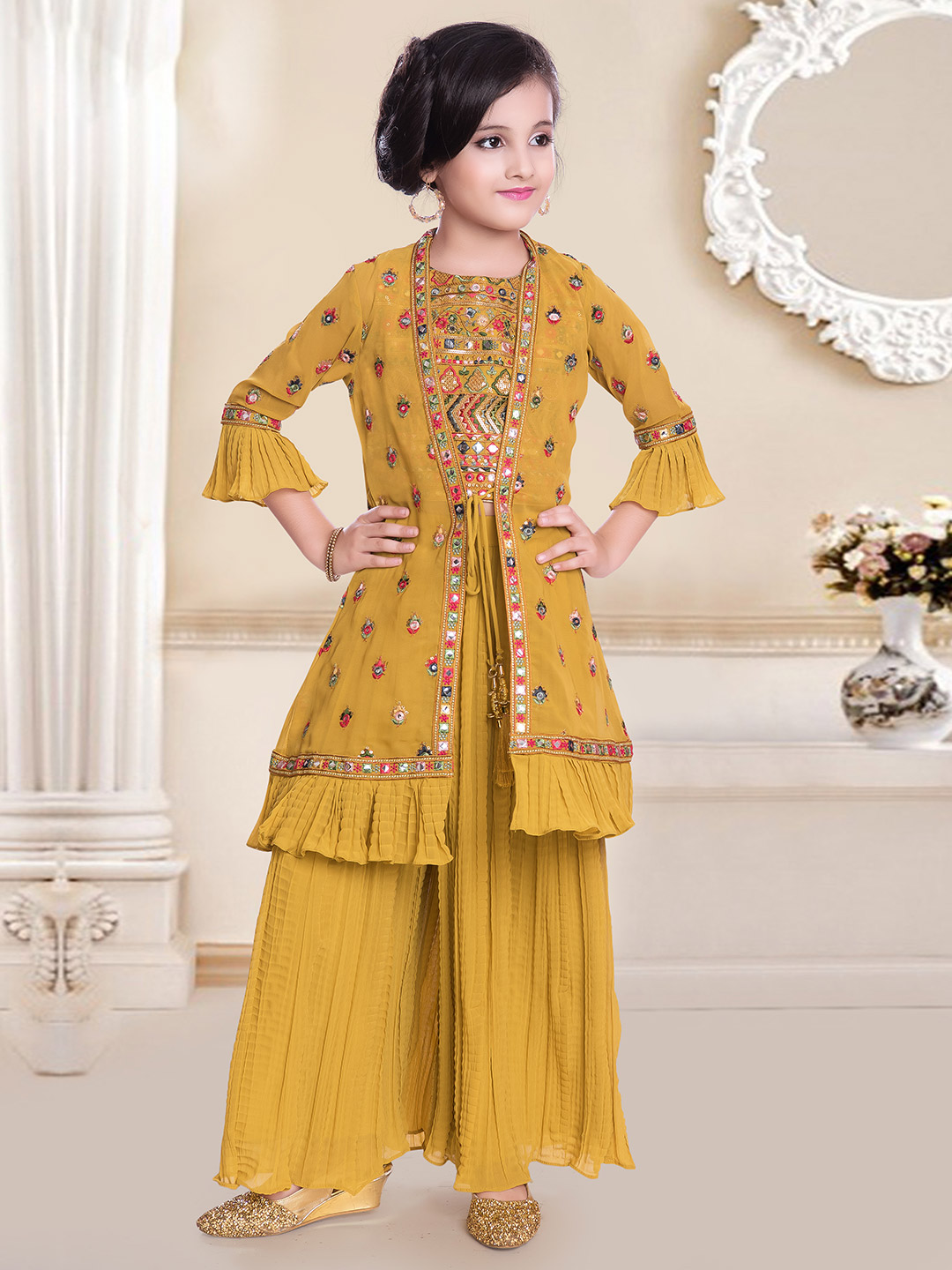 Mustard yellow georgette party special palazzo suit?imgeng=w_400
