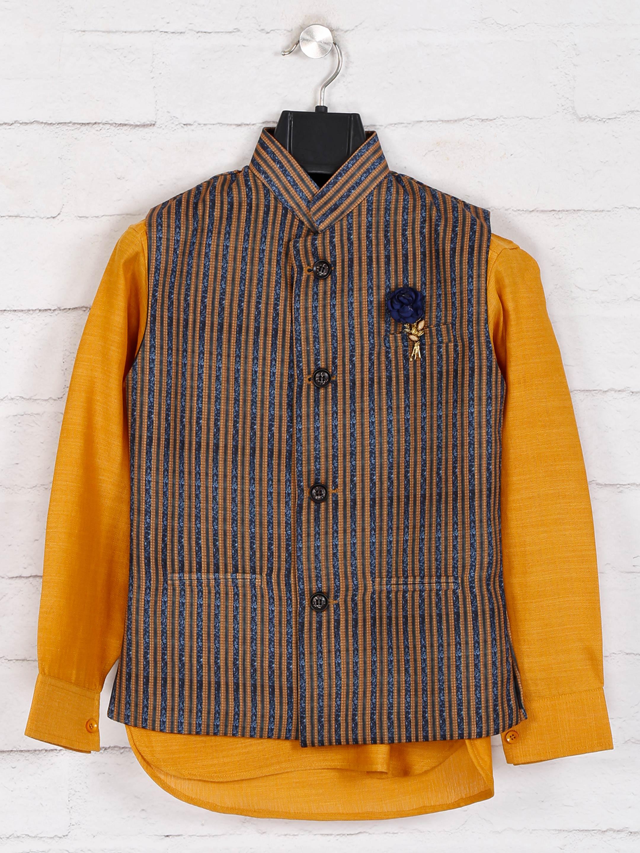 Mustard yellow stripe cotton waistcoat set?imgeng=w_400