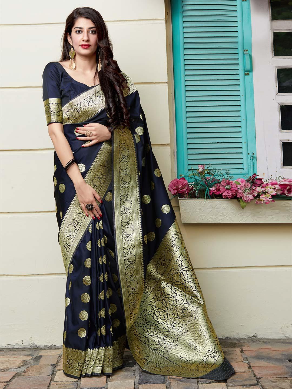Navy banarasi silk saree for parties?imgeng=w_400