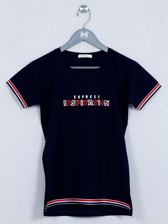 Navy blue cotton casual wear t-shirt?imgeng=w_400
