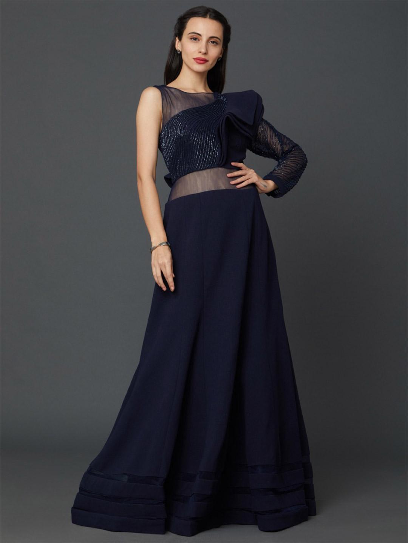 Navy blue scuba fabric designer party wear gown?imgeng=w_400