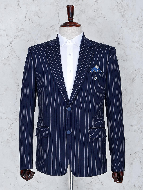 Navy color terry rayon stripe pattern blazer?imgeng=w_400