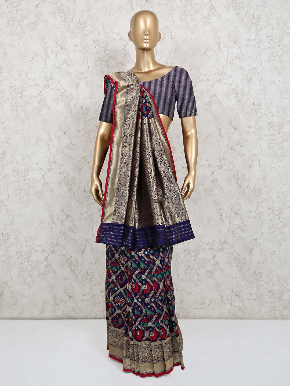 Navy colour patola silk wedding wear saree?imgeng=w_400