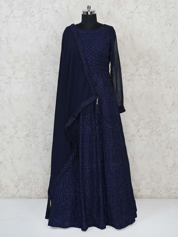 Navy georgette party wear floor length gown?imgeng=w_400