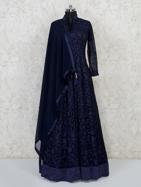 Navy georgette wedding wear gown?imgeng=w_400