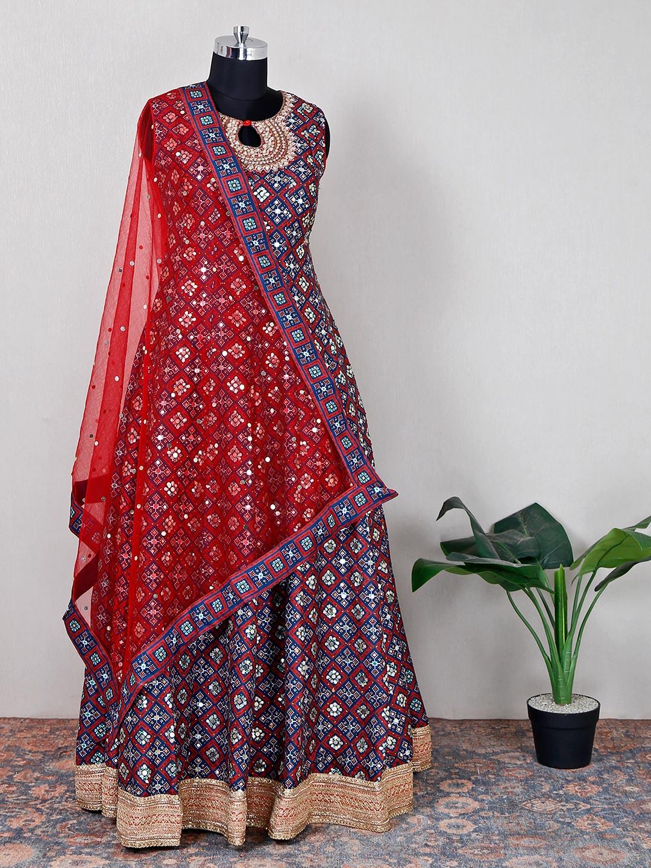Navy hue floor length anarkali suit in cotton silk?imgeng=w_400