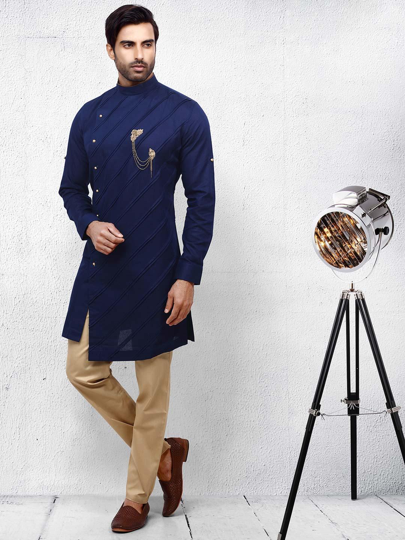 Navy hue pleats pattern cotton kurta suit?imgeng=w_400