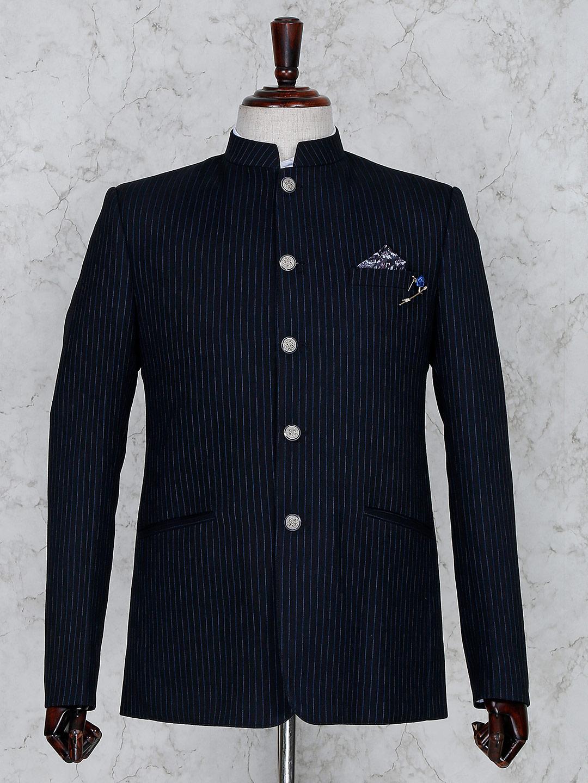 Navy hue stripe pattern terry rayon jodhpuri blazer?imgeng=w_400