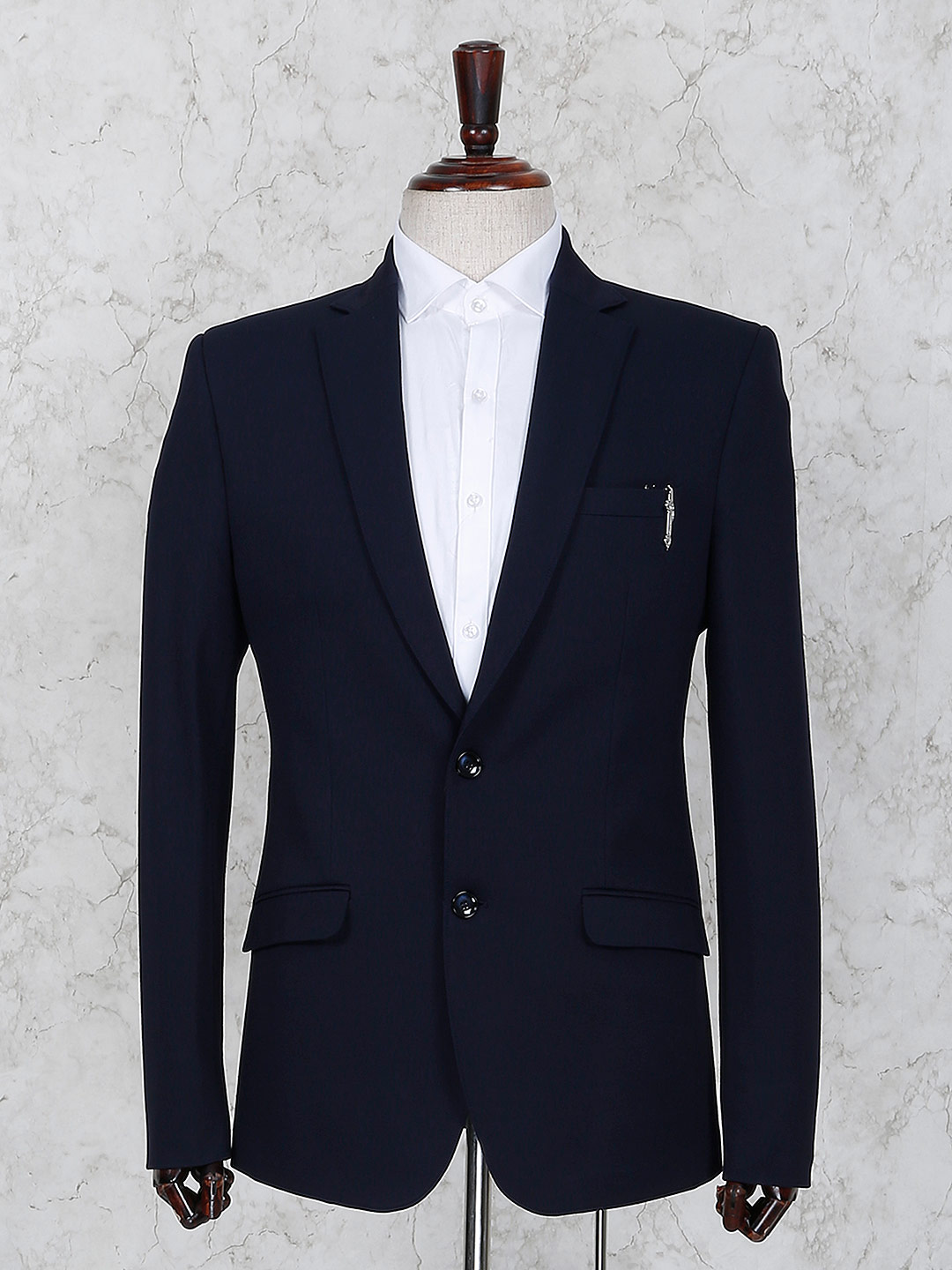 Navy hue terry rayon party function blazer?imgeng=w_400