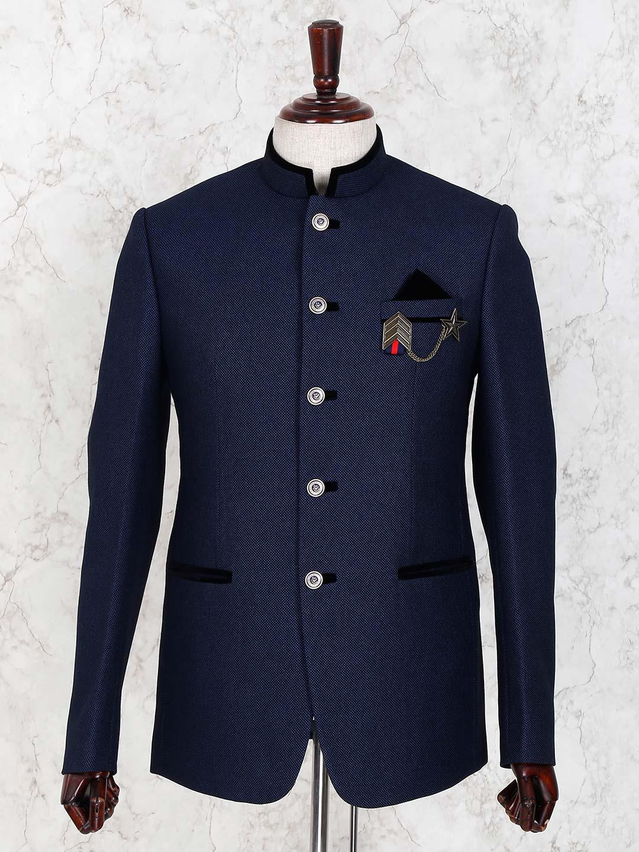 Navy hued terry rayon solid jodhpuri blazer?imgeng=w_400