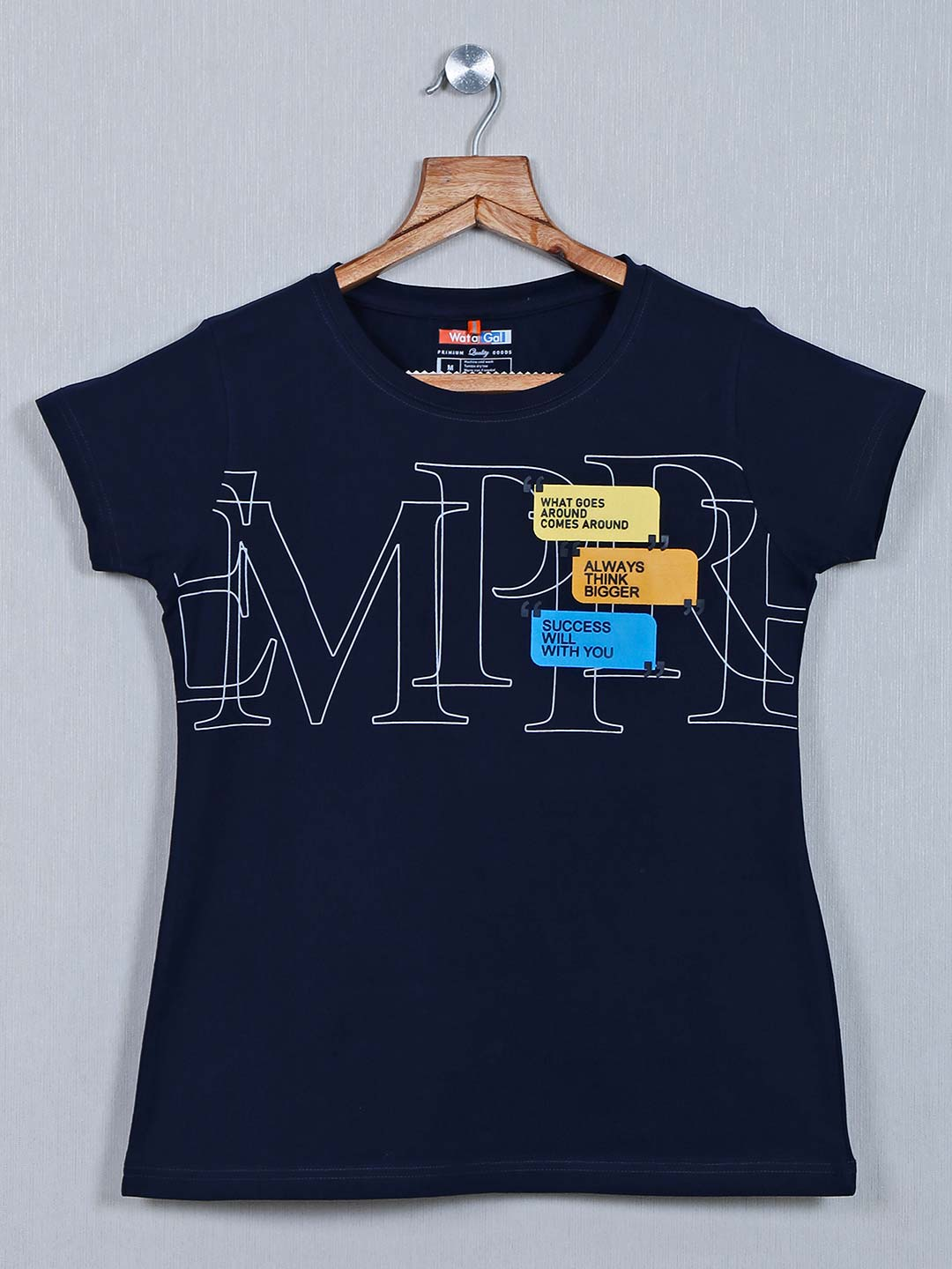 Navy printed cotton casual wear top?imgeng=w_400