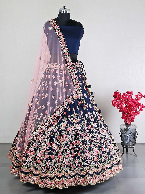 Navy raw silk lehenga choli for wedding?imgeng=w_400