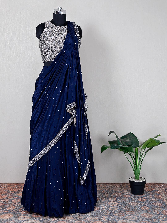 Navy silk designer wedding lehenga choli?imgeng=w_400
