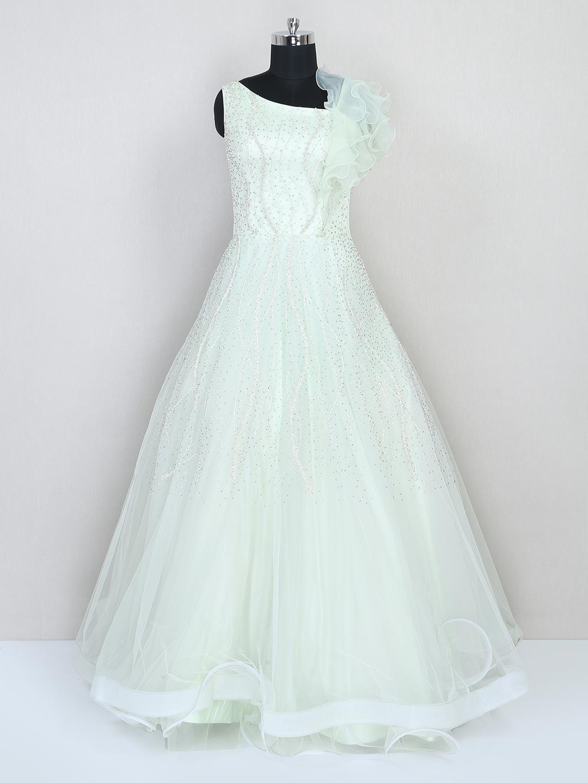 Net wedding wear floor length gown in green?imgeng=w_400