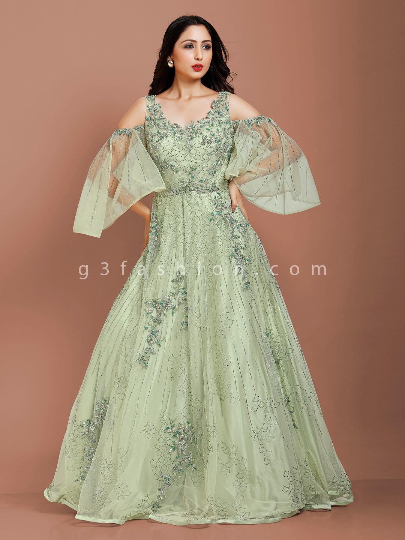New style pista green net wedding gown?imgeng=w_400