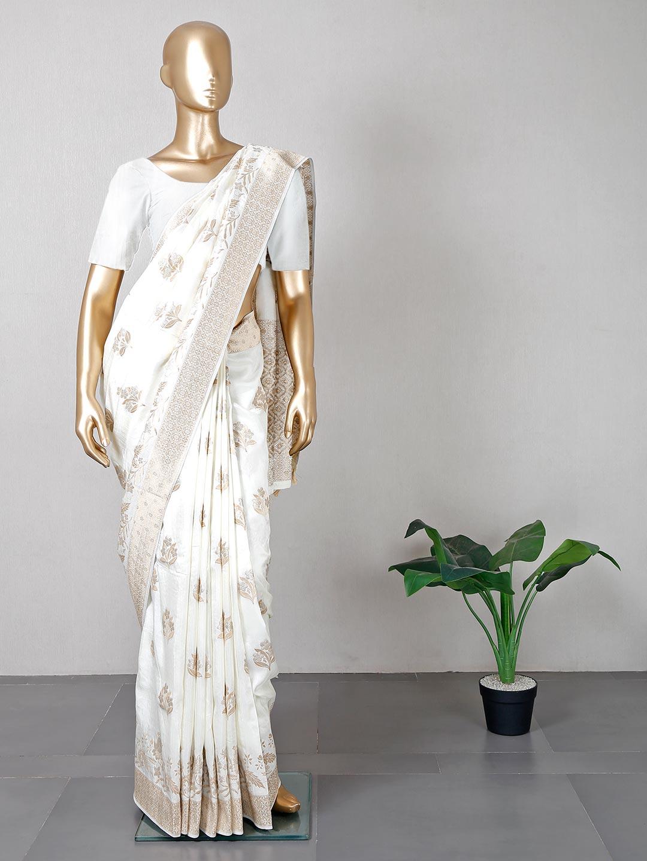 Off white wedding wear designer silk saree?imgeng=w_400