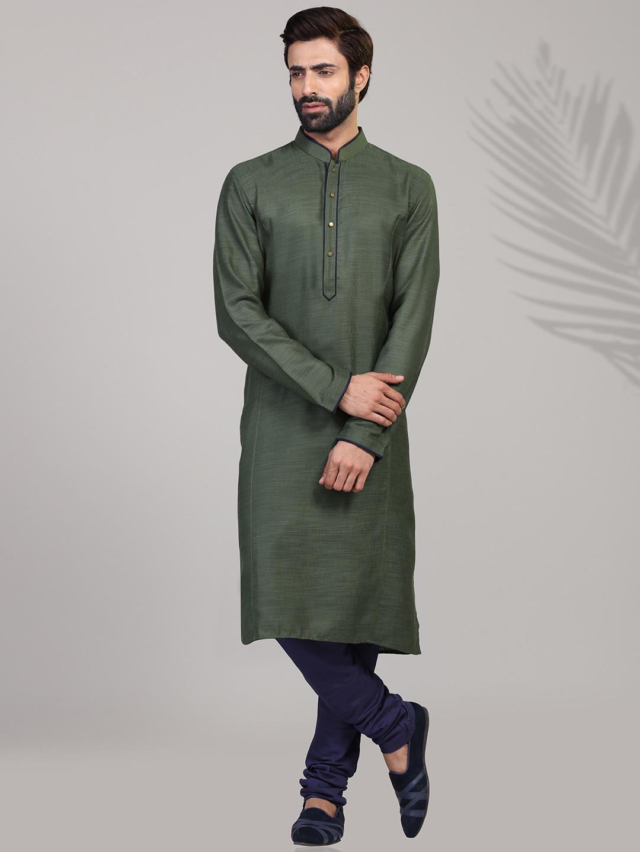 Olive cotton full sleeves solid kurta suit?imgeng=w_400